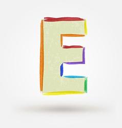 Alphabet letter E Watercolor paint design element vector image vector image
