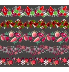 Big collection of different seamless christmas vector image