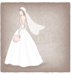 bride in wedding dress old background vector image