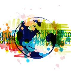 digital globe banner with art background design vector image vector image