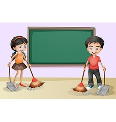 Kids cleaning near the empty board vector image