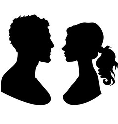 man and woman faces silhouette vector image vector image