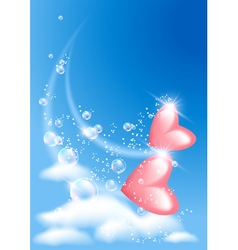 Pink hearts in the sky vector image vector image