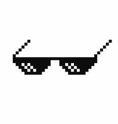pixel art glasses thug life meme glasses isolated vector image