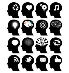 Set of 16 head icons with idea symbols vector image