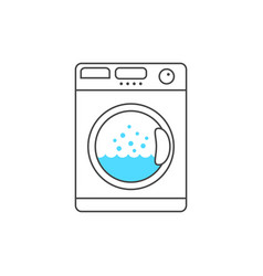 thin line washing machine with blue bubble vector image vector image