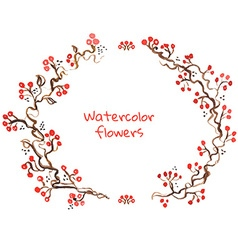 Watercolor flower elements and border vector image vector image