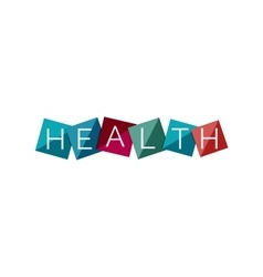 Word concept on color geometric shapes - health vector image