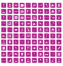 100 disabled healthcare icons set grunge pink vector image vector image