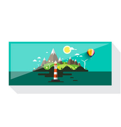 abstract picture of island with hills and vector image vector image