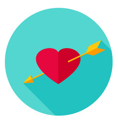 arrow pierced heart circle icon vector image
