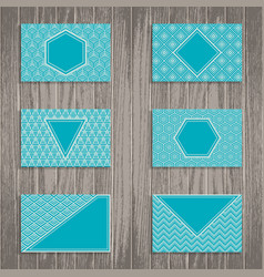 business greeting or gift cards on wooden vector image vector image