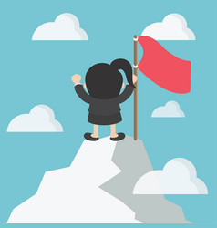 Business woman in mountains leader on the top vector