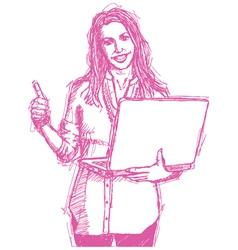 female laptop vector image