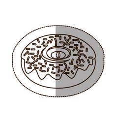 figure chocolate donut icon vector image