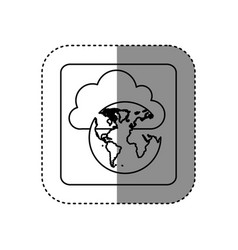 figure cloud data global network icon vector image