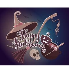Halloween with text happy halloween pumpkin vector