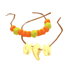 primitive necklaces made of animal teeth and vector image
