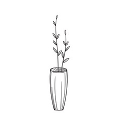 simple vase with twigs in the sketch style vector image