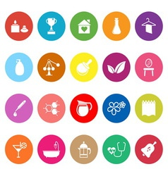 Spa treatment flat icons on white background vector image vector image