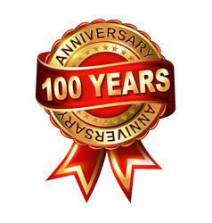 100 years anniversary golden label with ribbon vector image