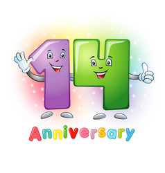 14 anniversary funny digits vector image