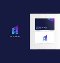 a building company logotype with business card vector image