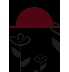 Abstract black and red floral card vector image