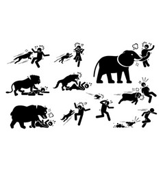 Animals attack human icons signs symbol depict vector