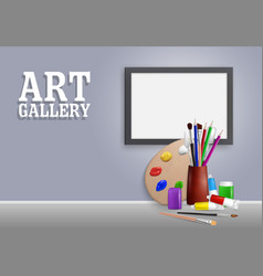 Art gallery mock up realistic vector