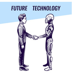artificial intelligence concept human and robot vector image