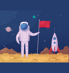 astronaut lunar surface cartoon icon vector image