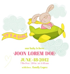 Baby bunny on a plane - shower card vector
