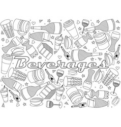 beverages line art design vector image