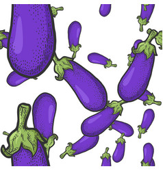 blue eggplant seamless pattern sketch vector image