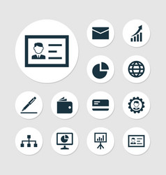 Business icons set collection of statistics vector