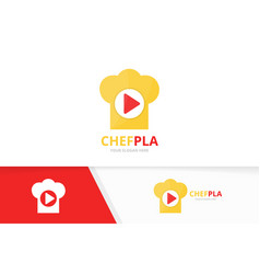 button play and chef hat logo combination vector image
