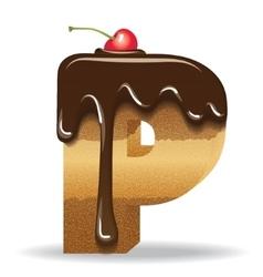 Cake letter P- birthday font vector