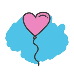 Cartoon doodle heart balloon vector