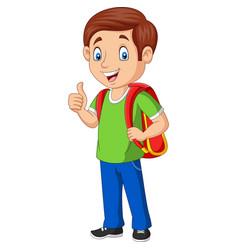 cartoon happy school boy with backpack vector image