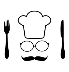 chef hat glasses and mustache vector image
