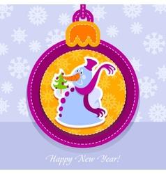 christmas ball postcard snowman with fir-tree vector image