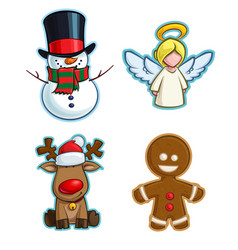 Christmas cartoon icon set - snowman angel vector