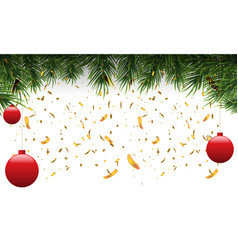 christmas fir border with fir leaf and golden vector image