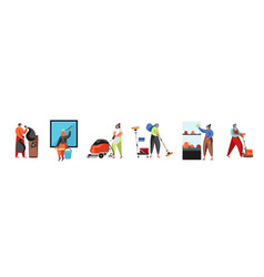 cleaning company staff flat isolated vector image