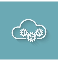 cloud computer concept symbol with gears vector image