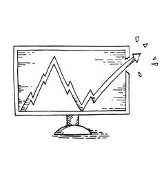 computer hand drawing with stock market vector image