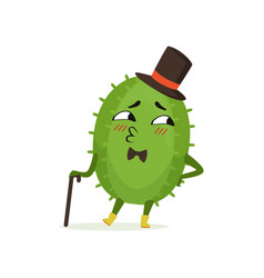 Cute cactus gentleman funny plant character in a vector