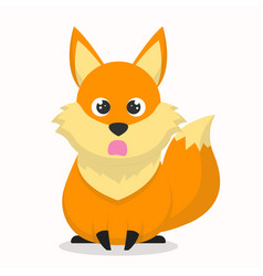 Cute fox character with an astonished expression vector