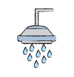 Doodle plumbing tube shower with water drops vector